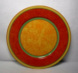 """LAURE JAPY Limoges china TERRA NOVA pattern Dinner Plate - 10"""" Red & Yellow"""