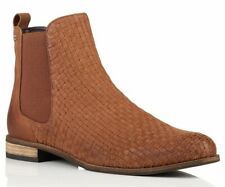 Brand New Superdry Millie Tan Brown Leather Woven Chelse Ankle Boots - 6 / 39