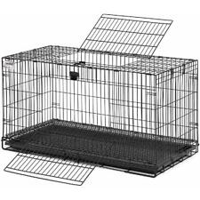 Rabbit Hutch Cage Pan Large Foldable Wide Doors Front Back Outdoor Garden  Black