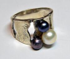 UNIQUE DESIGNER STERLING  925 RING W/ 3 PEARLS-WHITE DARK BLUE &BLACK SZ-6.5