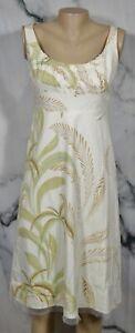 TAHARI Beige Multicolor Leaf Print Sleeveless Dress 8 Lined Cotton Blend