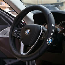 Black 38cm/15inch Steering Wheel Cover For BMW Logo Genuine Leather Nice