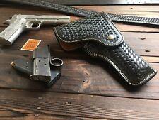 Alfonsos Black Basketweave Suede Lined Flap Holster For Colt 45 1911 Hi Power