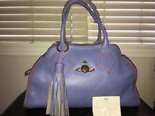 Vivienne Westwood Large dolce vita calf leather tassel bag Periwinkle Red trim