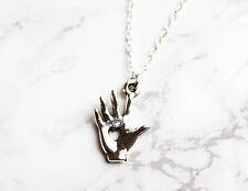 Palmistry heart hand silver pendant Boho/Hippy/Vintage/spiritual chainjewellery