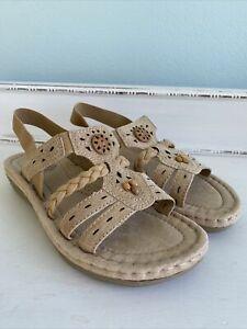 Earth Spirit Sandals Gelron 2000 Slingback Women's Size 6 Leather  Beige EUC