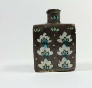 Islamische Keramikvase Eckig Blütendekor braun bemalt um 1900
