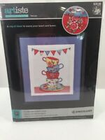 "Artiste Counted Cross Stitch Kit ""Tea Cups"" # 1215276 11"" X 14"" New"