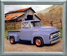 Ford F 100 V8 Pickup Vintage Truck Wall Silver Framed Art Print Picture (20x24)