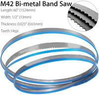 60'' x 1/2'' x 14tpi Sharp M42 Bi-metal Band Saw Blades Cut Metal 1524 x 13mm !
