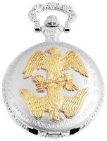 Taschenuhr Weiß Gold Silber Adler Vogel Analog Quarz Herrenuhr D-60412119844350