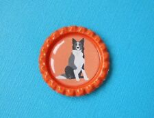 Handmade Border Collie Magnet Bottle Cap Dog Pup Fridge Orange Sheepdog WSD