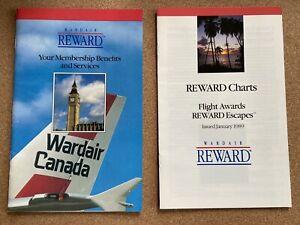 WARDAIR Canada Airline Membership Benefits & Reward Charts 1989 vintage booklets