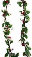 Set Of 2 Red Holly Berry And Leaf Garland - 3 Meters long Christmas Decoration