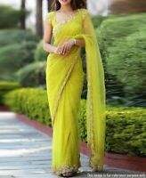 Saree Net Indian Sari Wear Party Designer Bollywood Wedding Ethnic Blouse Work