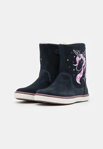 Lurchi Summer Tex Waterproof Winter Boots in Atlantic Blue with Unicorn detail