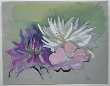 Gouache sur Papier Étude de Fleurs Plantes c.1950 Y. MILIN #34 Peinture Dessin