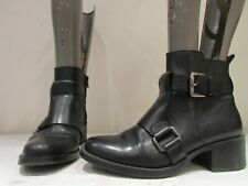 ZARA BASIC BLACK LEATHER BUCKLE ZIP UP ANKLE BOOTIES BOOTS UK 4 EU 37 (3417)