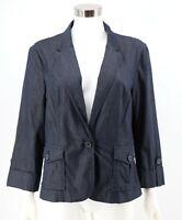 Ann Taylor Loft Blazer Jacket Size 12 Denim Blue Stretch Cotton Button Womens