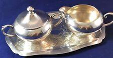 Sheridan Silversmith Silver Plate Creamer, Sugar Bowl  and Tray ~ USA