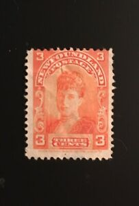 Stamps Canada Newfoundland Sc83 3c orange Queen Alexandra-See description