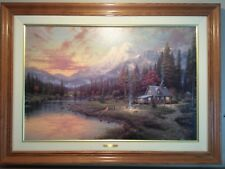 """Evening Majesty Thomas Kinkade  24""""x 36"""" Framed Canvas Painting Highlighting"""