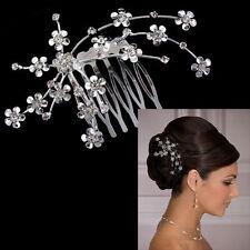 Flowers Crystal Silver Rhinestone Hair Comb Tuck Tiara Diamante Wedding Party