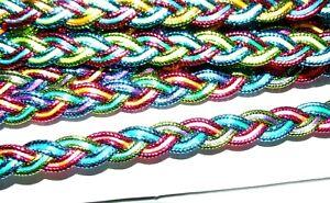 4 Metres 10 mm Multi-colour Plaited Braid Trim Gimp Upholstery Fast UK Dispatch