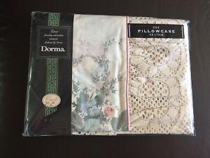 Dorma Chestnut Hill Pillowcase. Vintage. (Frilled) Size 48x76cm Cream/Pink/Green