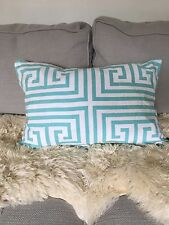 Greek Key Aqua Blue and White Pillow Cover Geometric