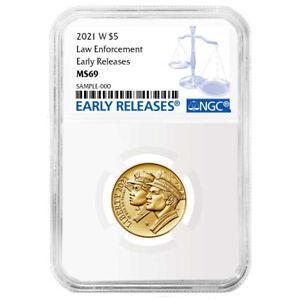 2021-W UNC $5 Gold National Law Enforcement NGC MS69 Blue ER Label