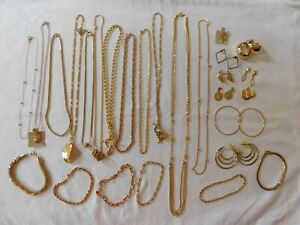 Gold Jewelry Lot of 26 Pendant Chain Necklaces, Bracelets, Earrings