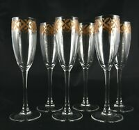 6 gold banded Crystal Champagne Sparkling Wine or Prosecco glasses flutes