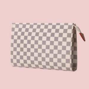 HOT  Checkered Zip Make-up Bag Clutch
