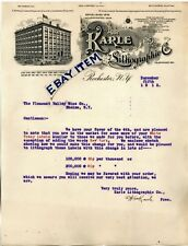 1912 ROCHESTER NEW YORK Letterhead KARLE LITHOGRAPHIC COMPANY George J. Hafner