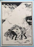Monogrammist Zeichnung Winterszene Kinder mit Schaufeln an einem Berg Schnee