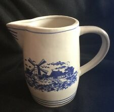 Antique Blue & White Milk Pitcher French Countryside, Windmill