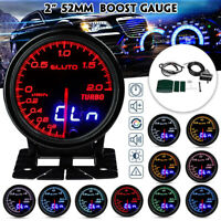"2"" 52mm 10 Colors LED Car Turbo Boost Gauge Meter Analog / Digital Dual Display"