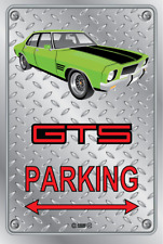 Parking Sign - Metal - HOLDEN HQ - GTS 4 DOOR - GREEN - WIRE WHEELS