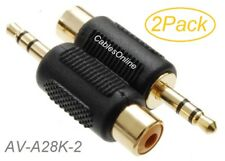 2-Pack 3.5mm Stereo TRS Male Plug to RCA Female Jack Audio Adapters, AD-A28K-2