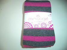 Girls Size Medium Grey Cotton Blend Tights With Pink Stripes