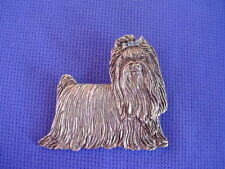 Yorkshire Terrier standing Pewter Pin #31A Toy Dog Jewelry by Cindy A. Conter