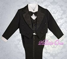 5 Pcs Set Black Formal Tuxedo Suit w/ Tail Wedding Party Baby Size 12-18m ST011A