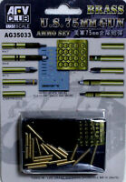 AFV Club 1/35 AG35033 WWII US 75mm Gun Ammo Set (Brass)