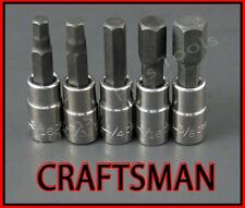 CRAFTSMAN HAND TOOLS 5pc 1/4 SAE Hex Allen key bit ratchet wrench socket set