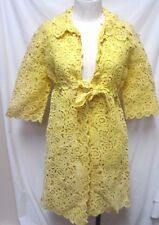 Paoli Firenze Vintage yellow crochet lace cover-up jacket Italy Size Sz 10