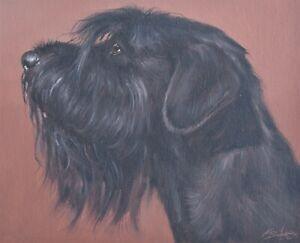 Wonderful John Silver Original Oil Painting - Portrait Of A Giant Schnauzer Dog