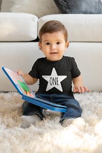 One Kids Tshirt 1st Birthday Childs Age Gift Party Children One Year Old STAR