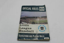 Official Rules Little League Baseball 1974 Regulations and Playing Rules