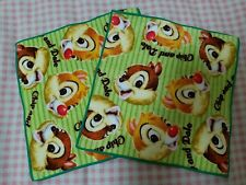 Lot of 2 Disney Chip N Dale Baby Soft Cotton Napkin Hand Towels